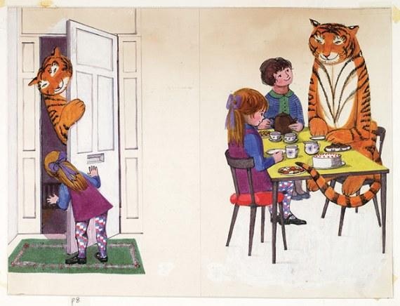 Original artwork from The Tiger Who came to Tea