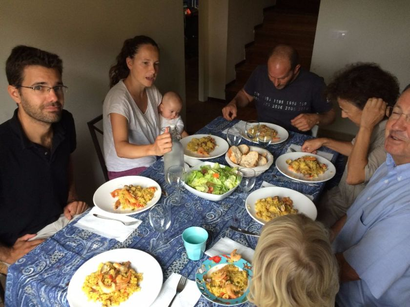A Spanish family paella lunch