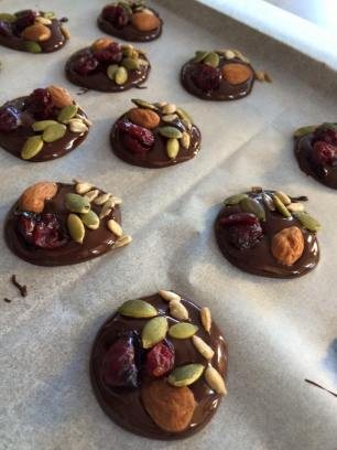 Healthy(ish) dark chocolate cranberry almond drops!
