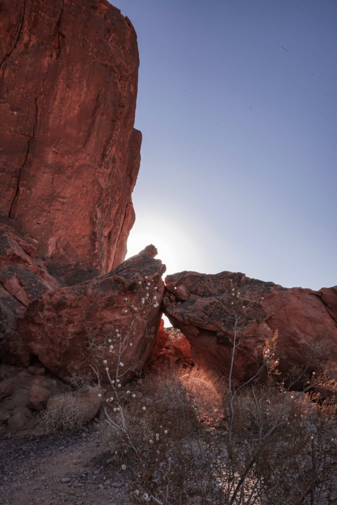 Gibraltar Rock and small boulders on the Fire Wave hike at Valley of Fire State Park.