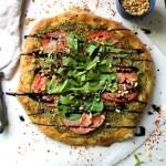 Vegan Pesto Pizza with Balsamic Glaze   ThisSavoryVegan.com