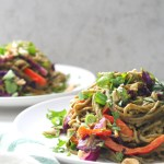 These Warm Spicy Peanut Soba Noodles are the perfect combination of sautéed veggies, warm soba noodles and spicy peanut sauce. A vegan dinner that is ready in just 30 minutes! | ThisSavoryVegan.com #vegan #noodles