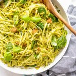 This Vegan Spicy Sausage Pesto Pasta is perfectly creamy, slightly spicy and totally filling. Loaded with greens to make it a complete meal | ThisSavoryVegan.com #thissavoryvegan #veganpasta #pestopasta