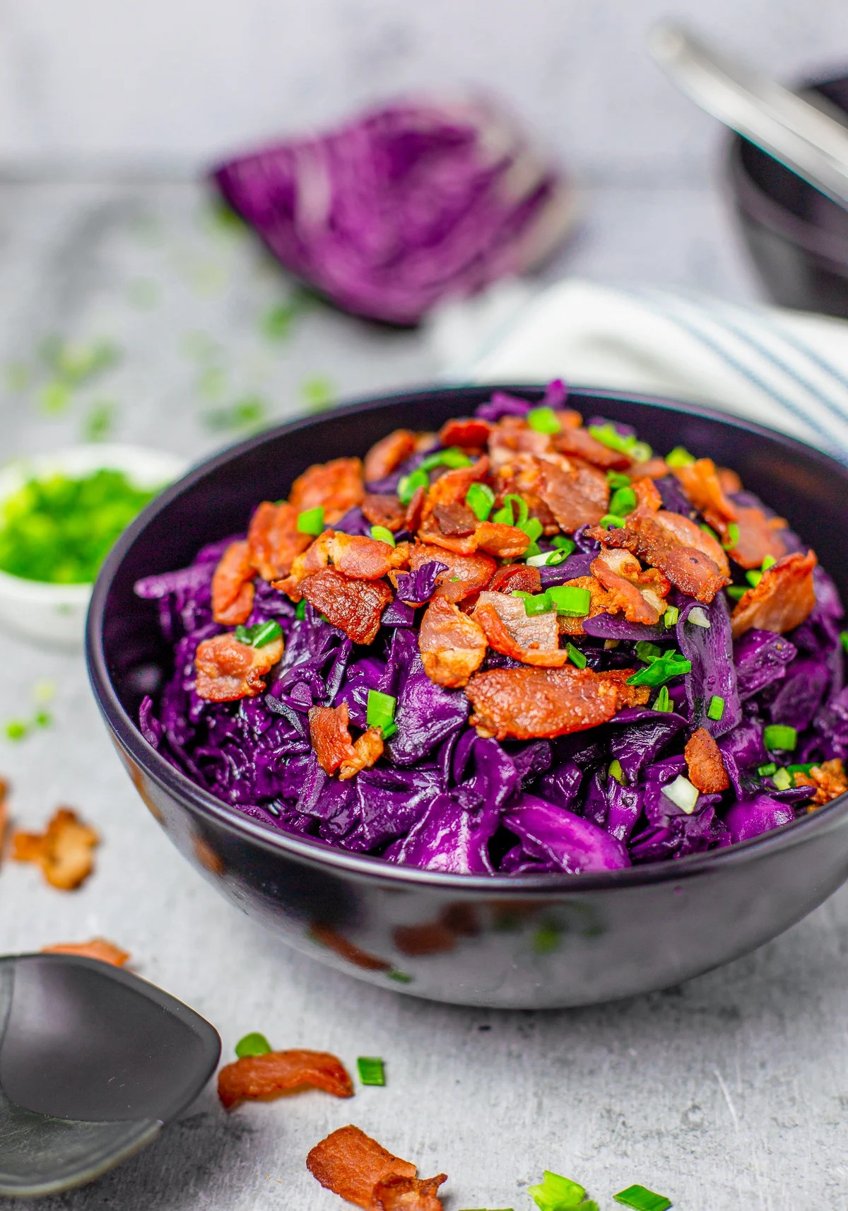 Bowl of Sweet and Sour Cabbage recipe side view.