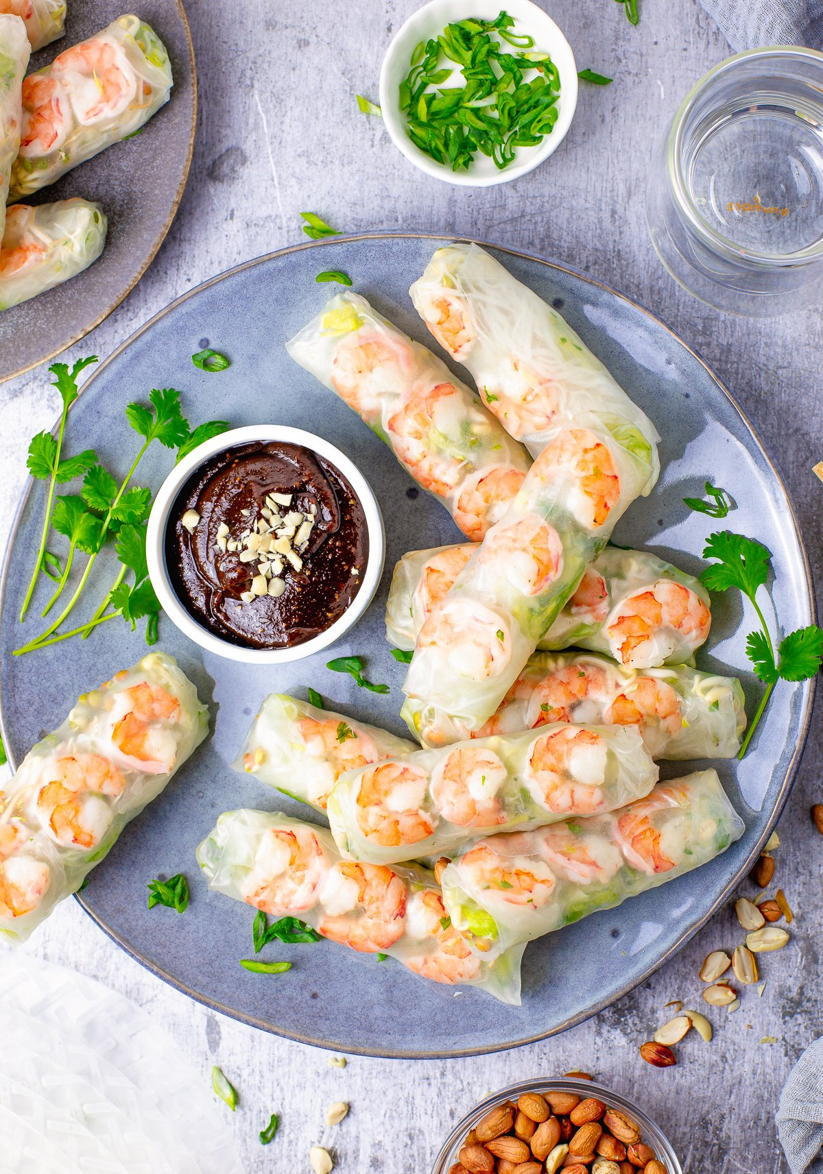 Overhead photo of Salad Rolls on plate with dipping sauce