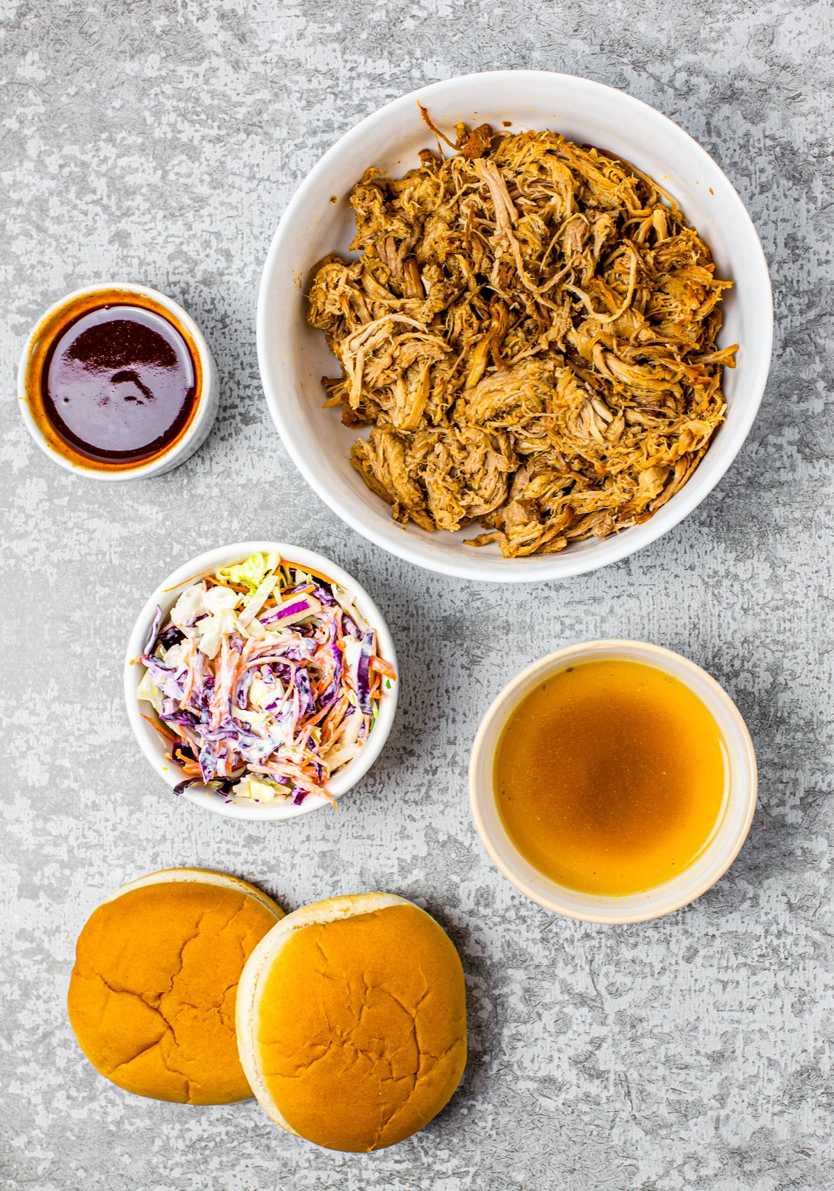 Ingredients needed to make Crock Pot Pulled Pork Sandwiches