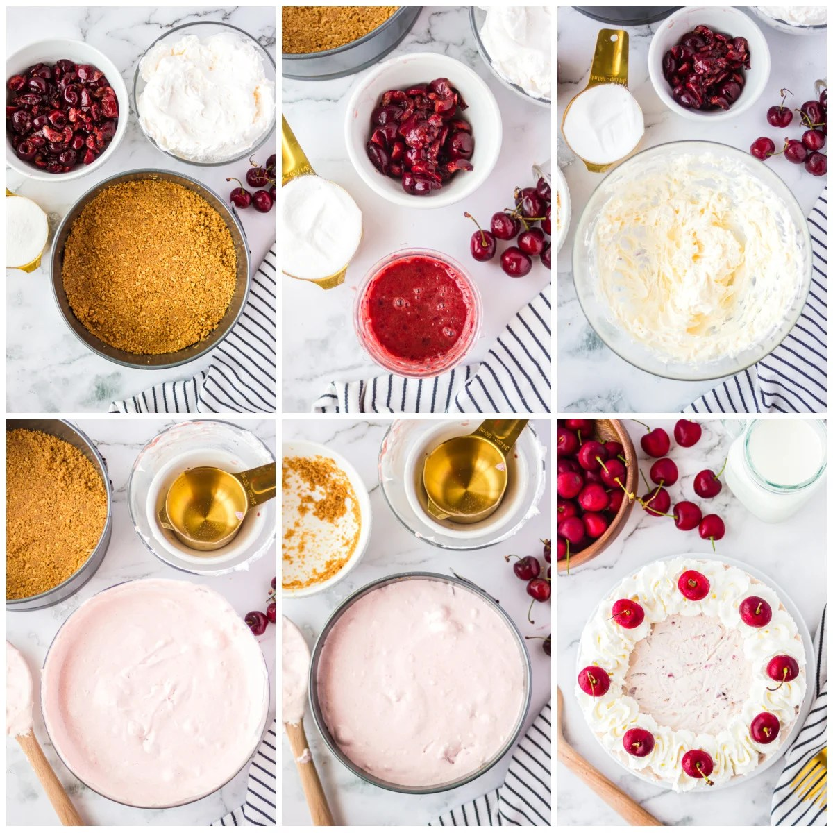 Step by step photos on how to make a Cherry Cheesecake