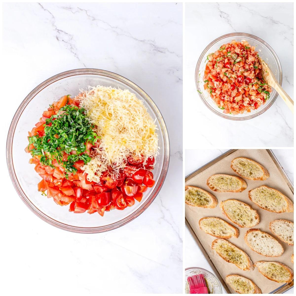 Step by step photos on how to make Bruschetta with Garlic Crostini