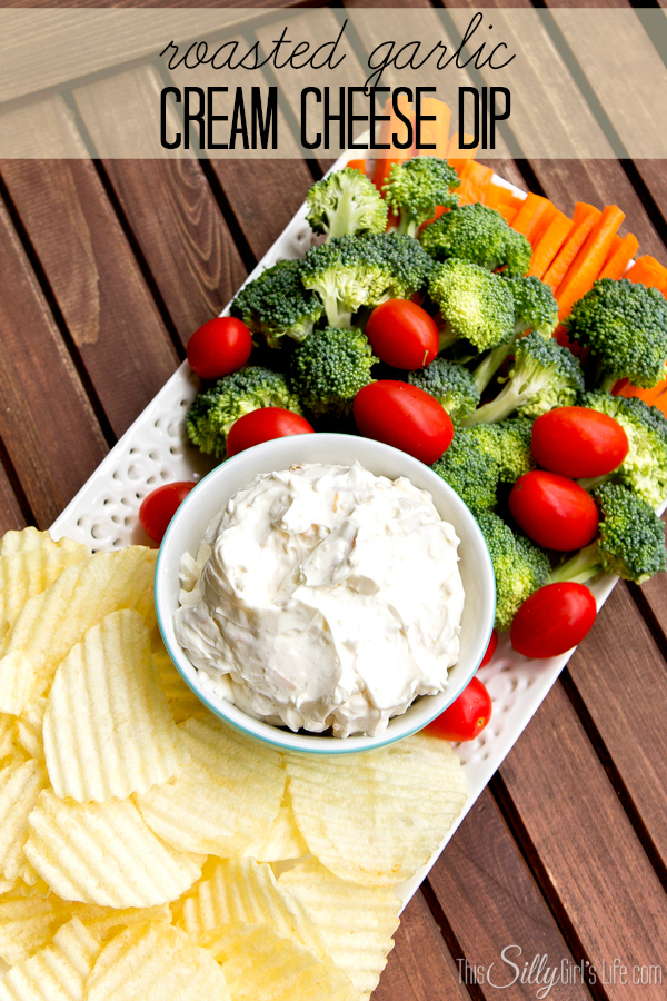 Roasted Garlic Cream Cheese Dip recipe from https://ThisSillyGirlsLife.com #Appetizer #Dip #RoastedGarlic #CreamCheeseDip