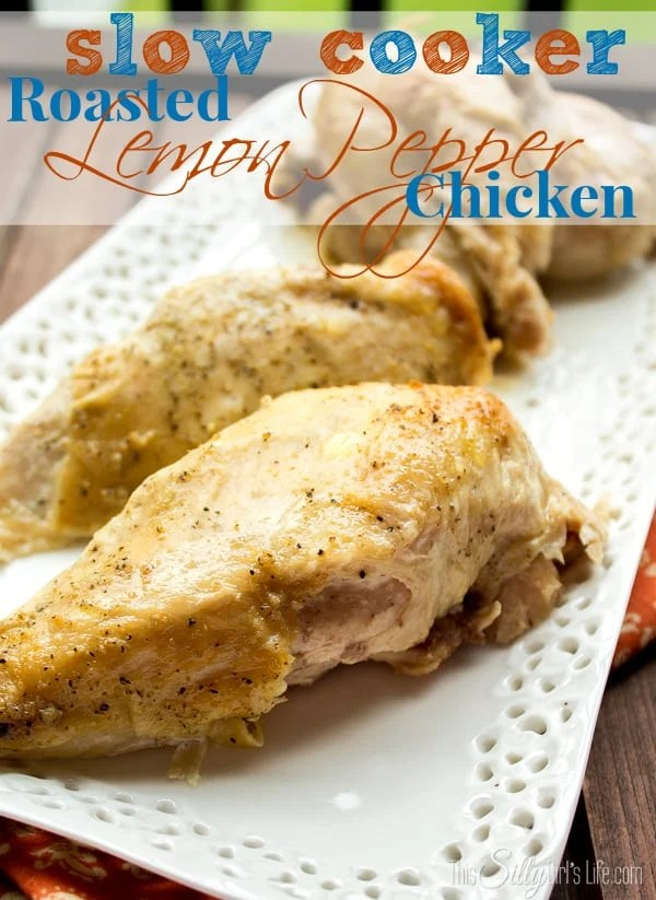 Slow Cooker Roasted Lemon Pepper Chicken, very easy recipe. Comes out amazingly moist and tender! She shows you how to season under the skin and adds butter to keep the chicken basted while cooking. Recipe on https://ThisSillyGirlsLife.com