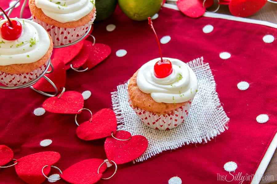 Cherry Limeade Cupcakes, maraschino cherry cake with lime whipped frosting. UGH, so good!