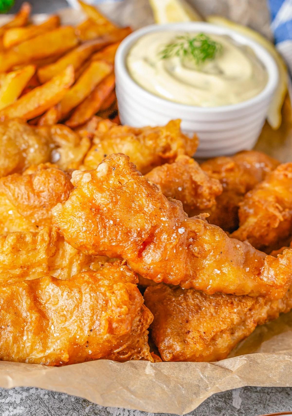 Close up of Copycat Captain D's Crunchy Battered Fish Recipe