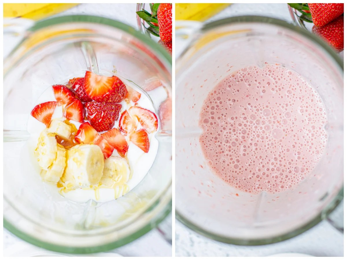 Step by step photos on how to make a Strawberry Banana Smoothie Recipe