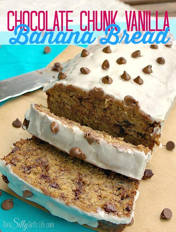 Chocolate Chunk Vanilla Banana Bread, moist banana bread studded with chocolate and topped with a thick vanilla glaze, Heaven!