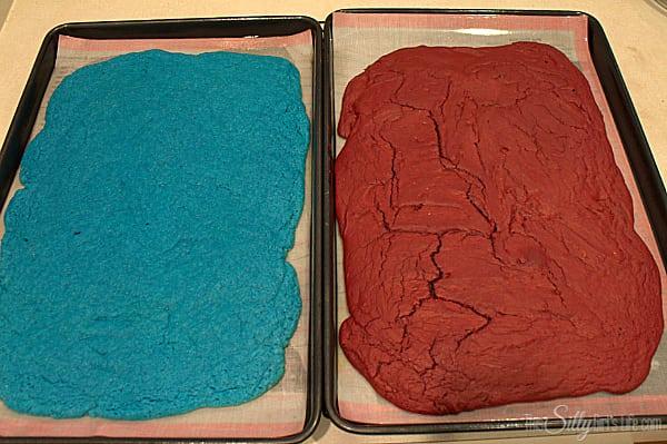 Bake red velvet brownies for 15-18 minutes, until toothpick inserted comes out clean. Bake blue velvet 10-13 minutes until toothpick inserted comes out clean.