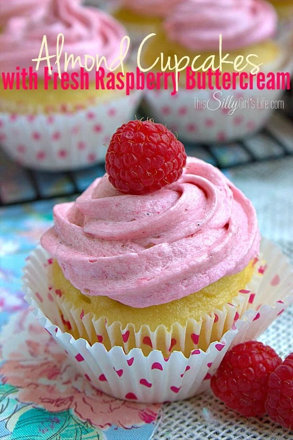 Almond Cupcakes with Fresh Raspberry Buttercream Frosting, a simple, beautiful yummy dessert!