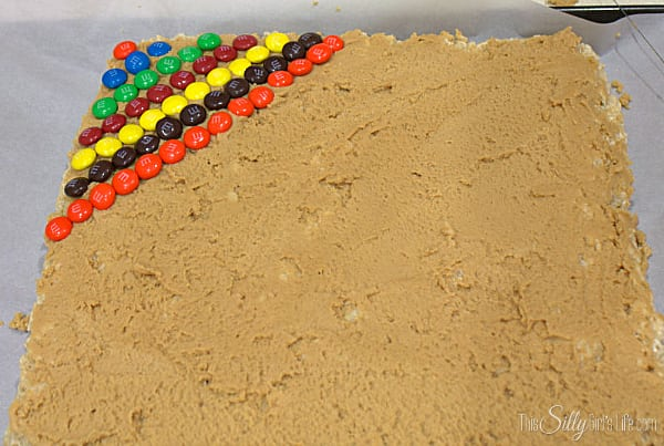 For the rainbow effect, start in one corner and in alternating colors add rows and rows of m&ms.