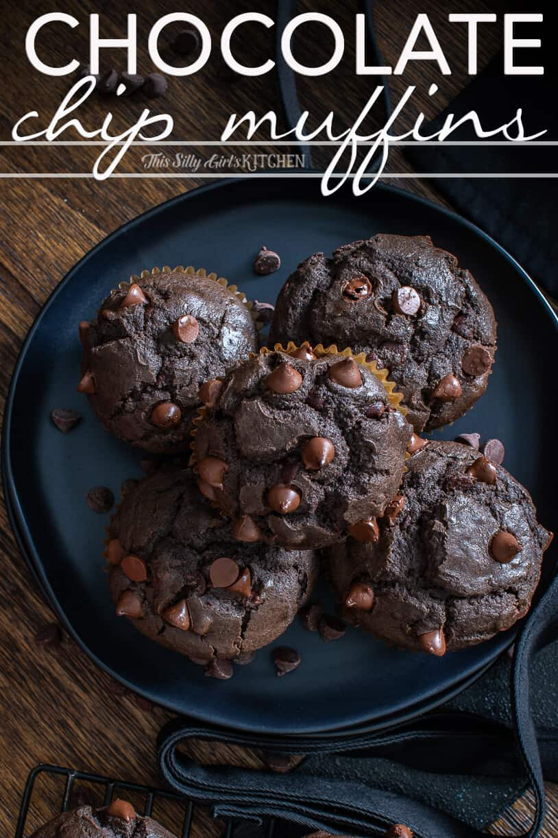 Chocolate Chip Muffins Pinterest image on black plate overhead