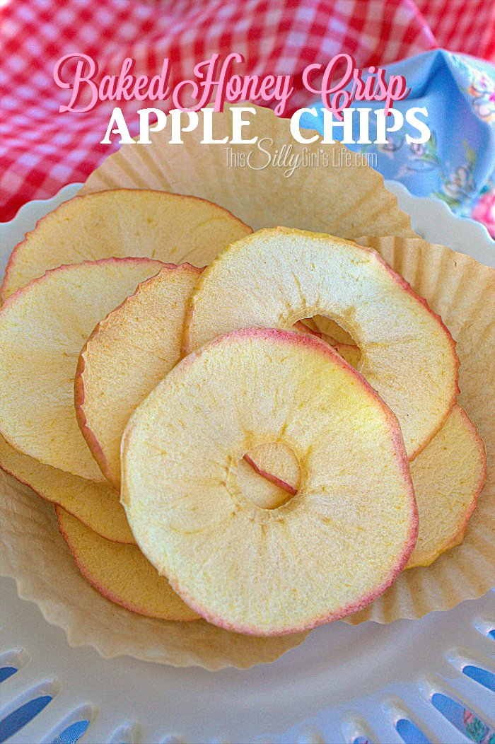 Baked Honey Crisp Apple Chips, thinly sliced and baked to a crispy, delicious, sweet and healthy snack! - ThisSillyGirlsLife.com