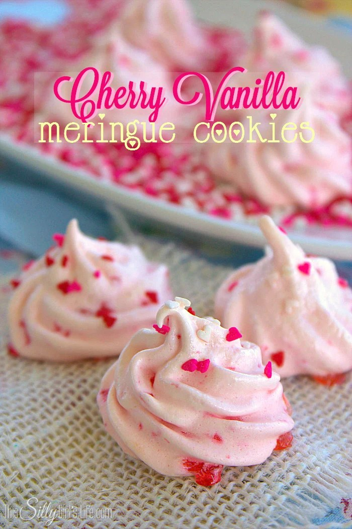 Cherry Vanilla Meringue Cookies, light and airy cookies with a classic flavor combo, studded with maraschino cherries! - ThisSillyGirlsLife.com