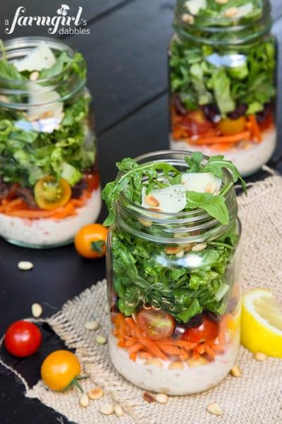 Chopped Italian Salad with Creamy Caesar Dressing {in jars}