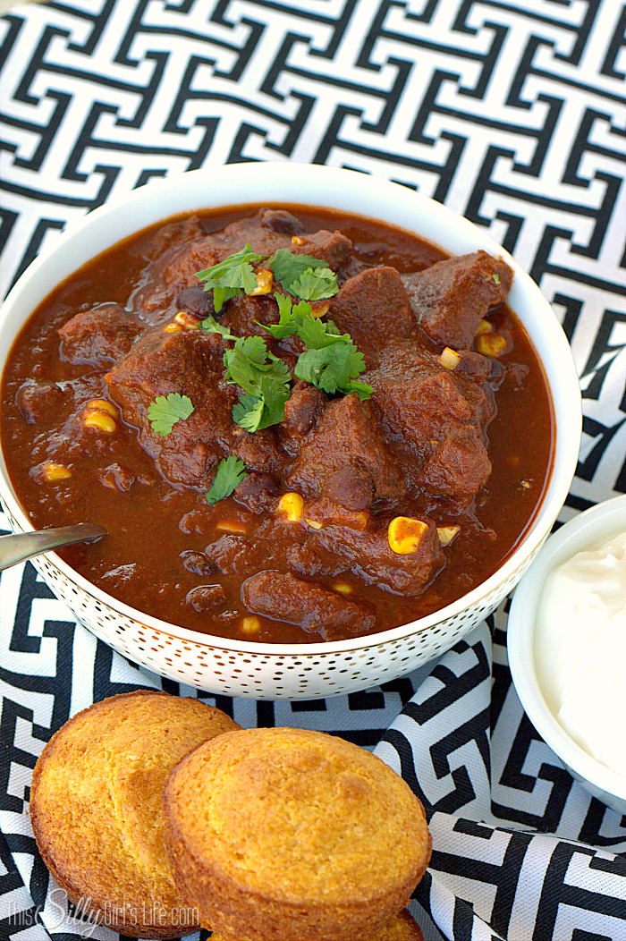 Chunky Beef Chili, big, tender chunks of beef simmered for hours with corn and black beans. Warm and comforting, perfect for cold winter nights! - ThisSillyGirlsLife.com