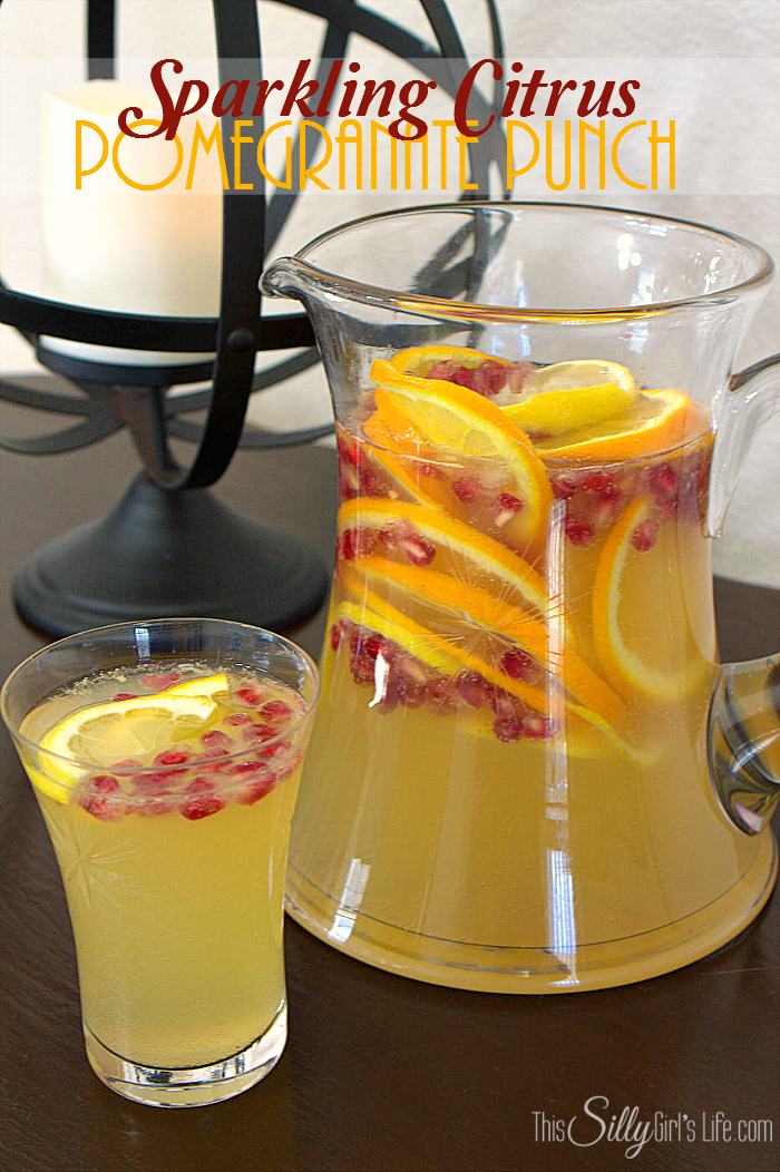 Sparkling Citrus Pomegranate Punch, a non-alcoholic punch, bubbly and refreshing with citrus notes and pops of pomegranate! - ThisSillyGirlsLife.com #SparklingPunch