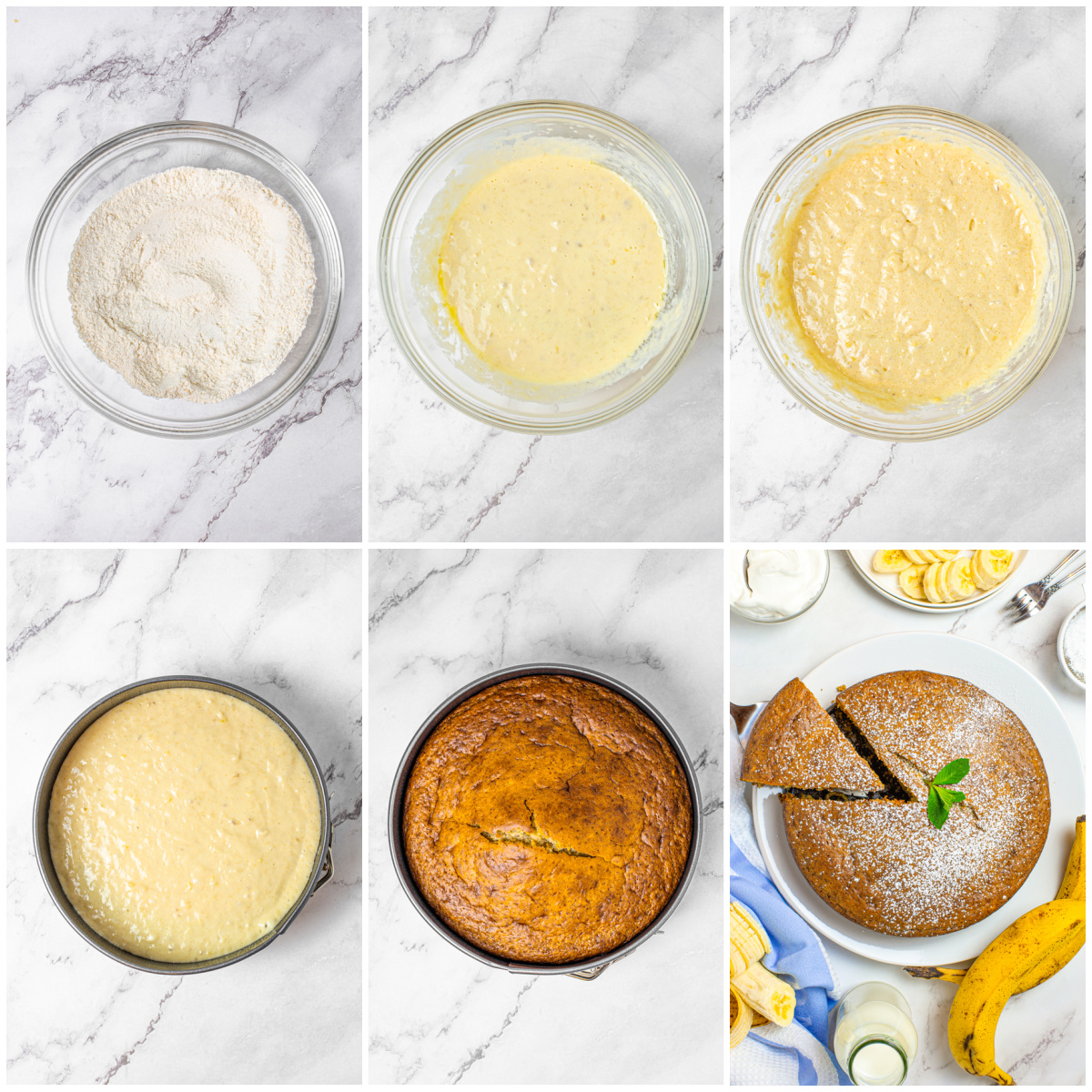Step by step photos on how to make Banana Snacking Cake