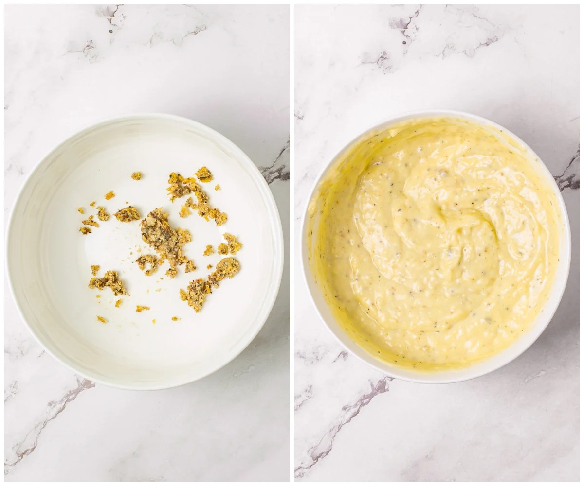 Step by step photos on how to make Homemade Caesar Salad Dressing