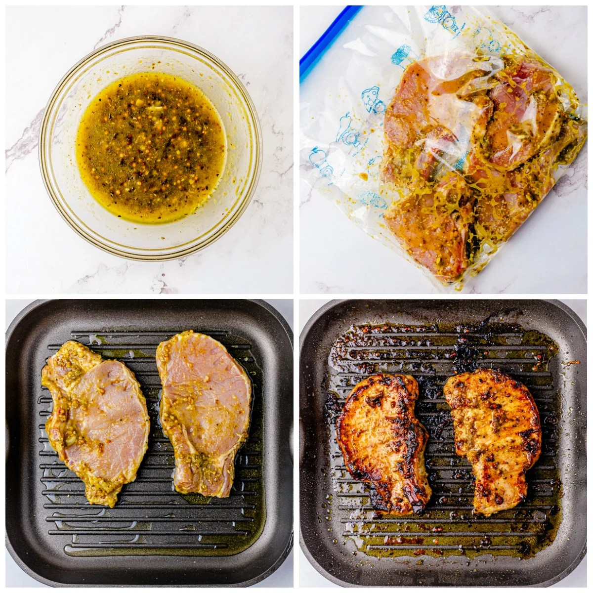 Step by step photos on how to make a Grilled Pork Chop Recipe