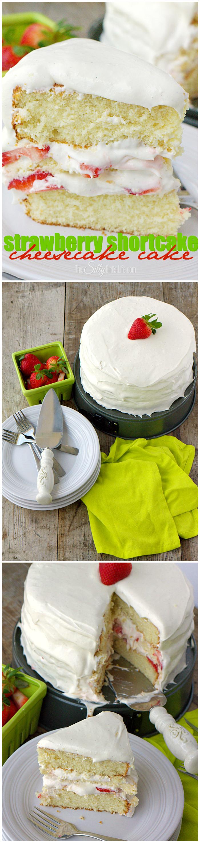 strawberry shortcake cheesecake cake collage