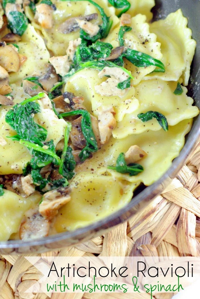 Artichoke Ravioli with Mushrooms and Spinach, an easy delicious weeknight meal ready in 30 minutes!