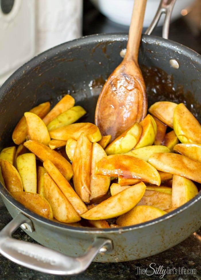 Apples in pan being fried