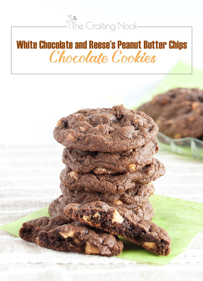 Soft and chewy chocolate cookies studded with white chocolate and peanut butter chips!