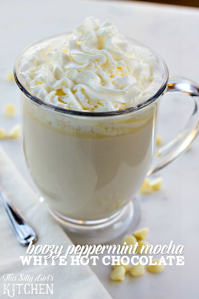 Boozy Peppermint Mocha White Hot Chocolate, homemade white chocolate hot cocoa.... but BETTER. from ThisSillyGirlsLife.com #hotchocolate #hotcocoa #whitechocolate #peppermintmocha