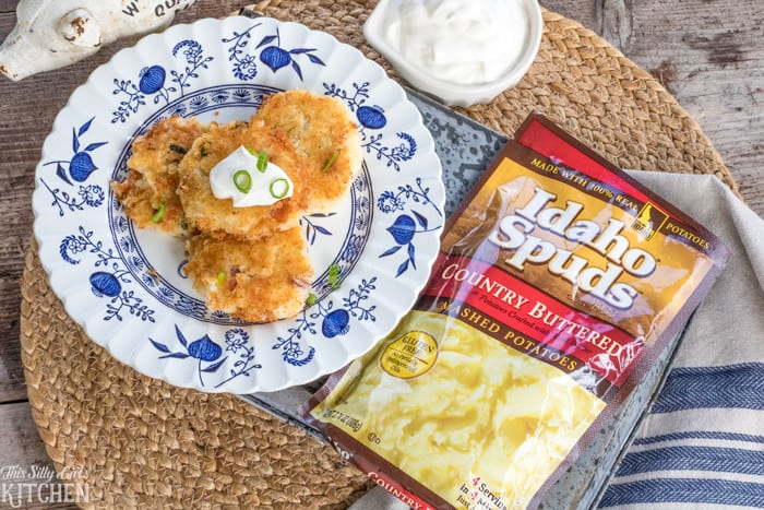 Fried Loaded Mashed Potato Bites, a yummy and simple appetizer or side dish for any day of the week! from ThisSillyGirlsKitchen.com #downrightdelicious #CG AD