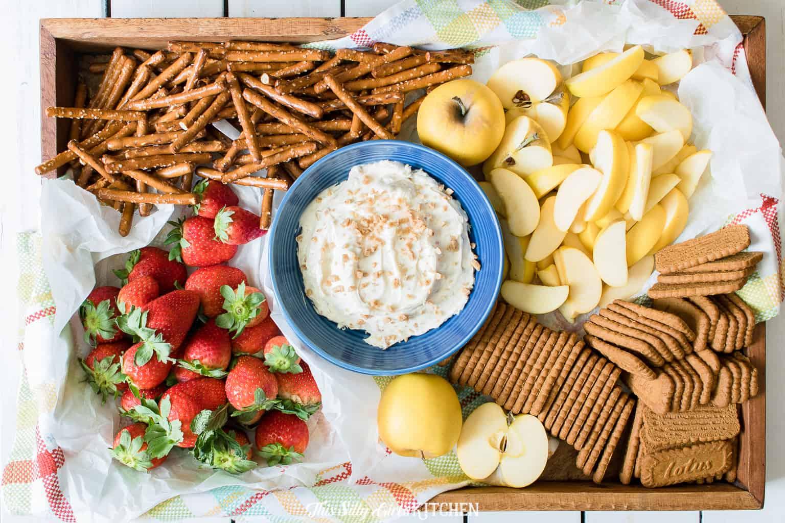 Caramel Apple Dip, a yummy appetizer or after-school snack. #Recipe from ThisSillyGirlsKitchen.com #caramelappledip #fruitdip #dip #appetizer #dessert