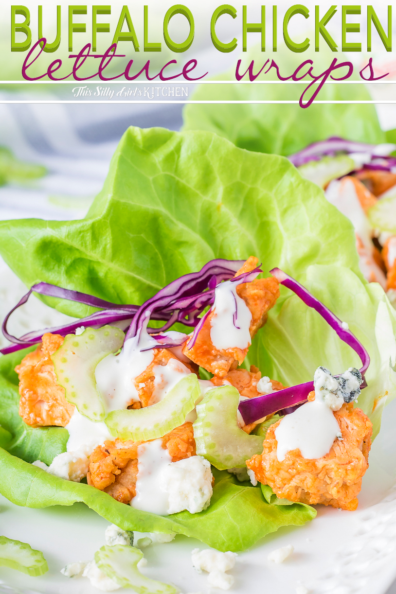 Close up of dressed up Chicken Lettuce Wrap Pinterest Image