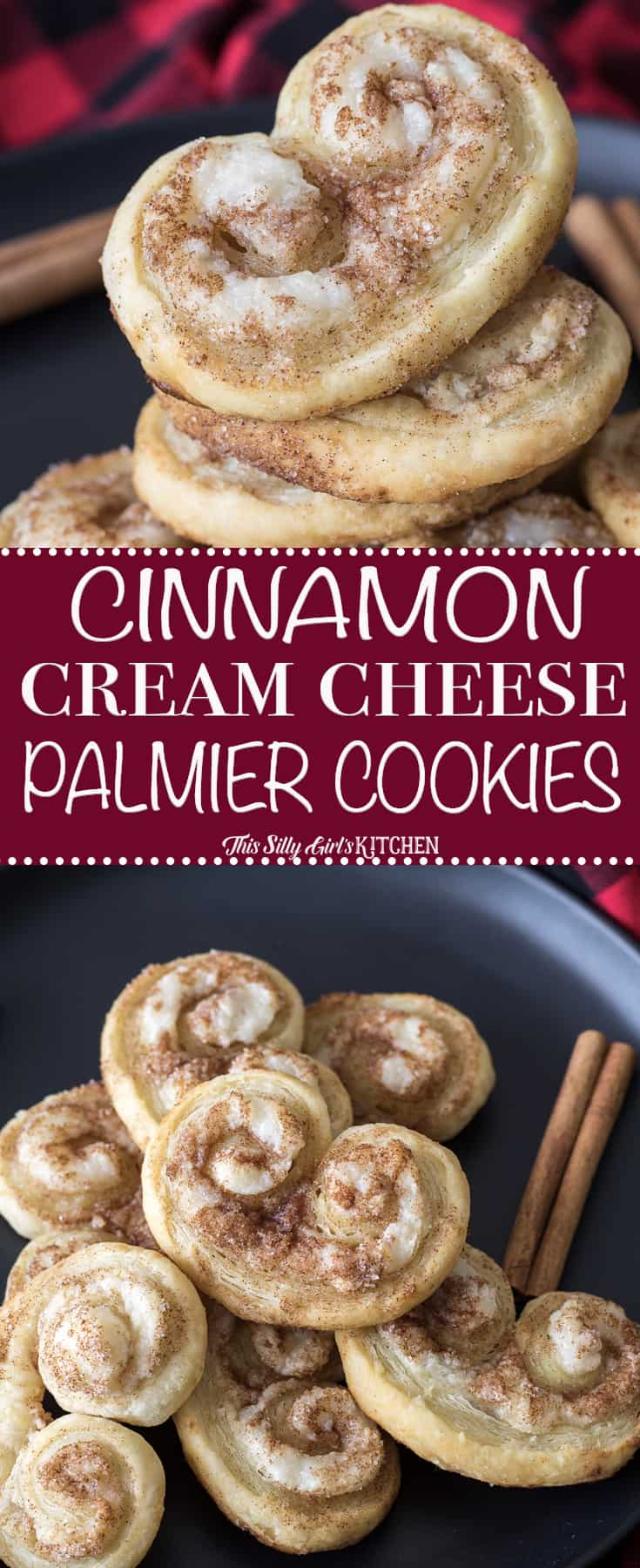 Staked cookies and cookies on black plate pinterest image