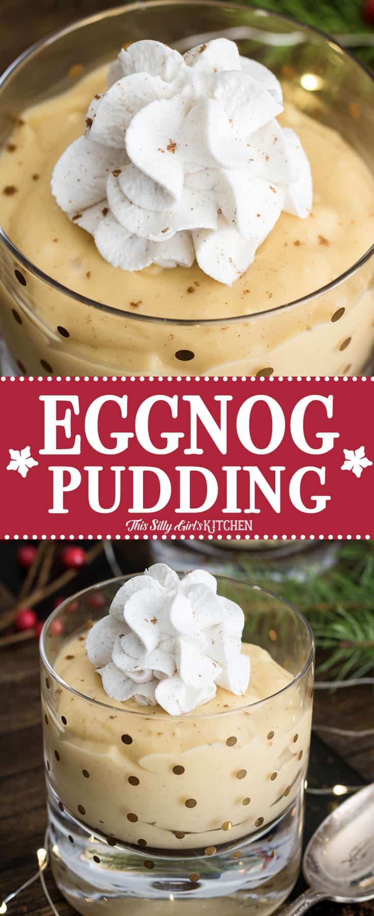 Collage image of Eggnog Pudding with words in middle