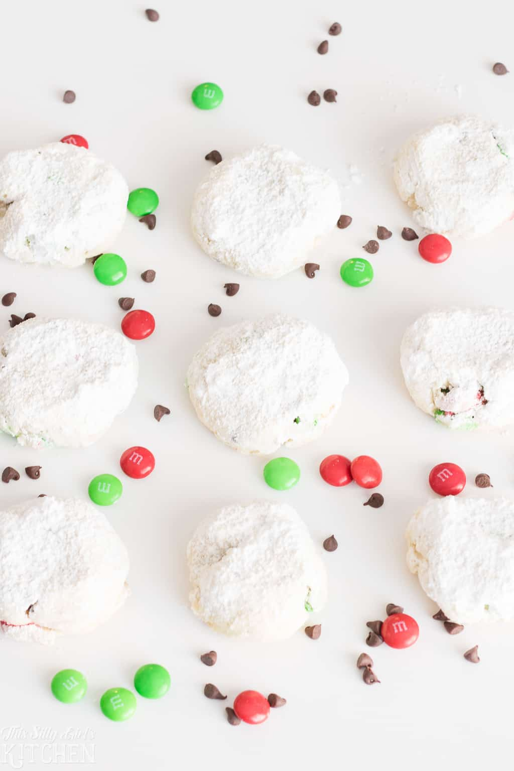 Overhead photo of Cream Cheese Cookies on white background