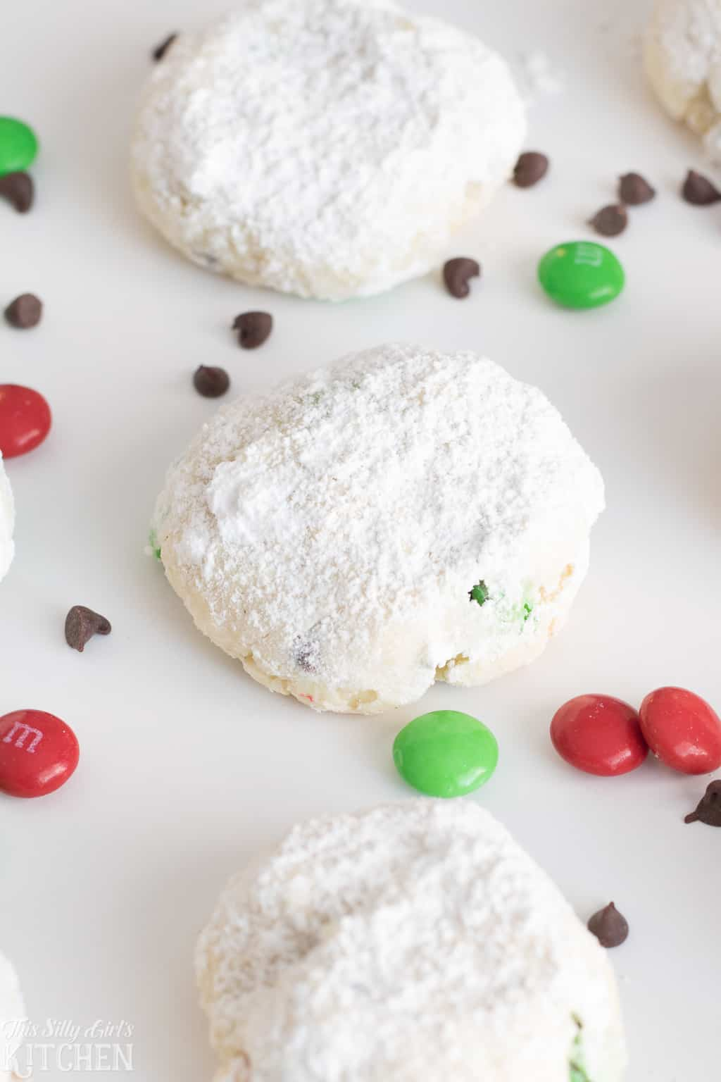 Close up of three Holiday Cream Cheese Cookies
