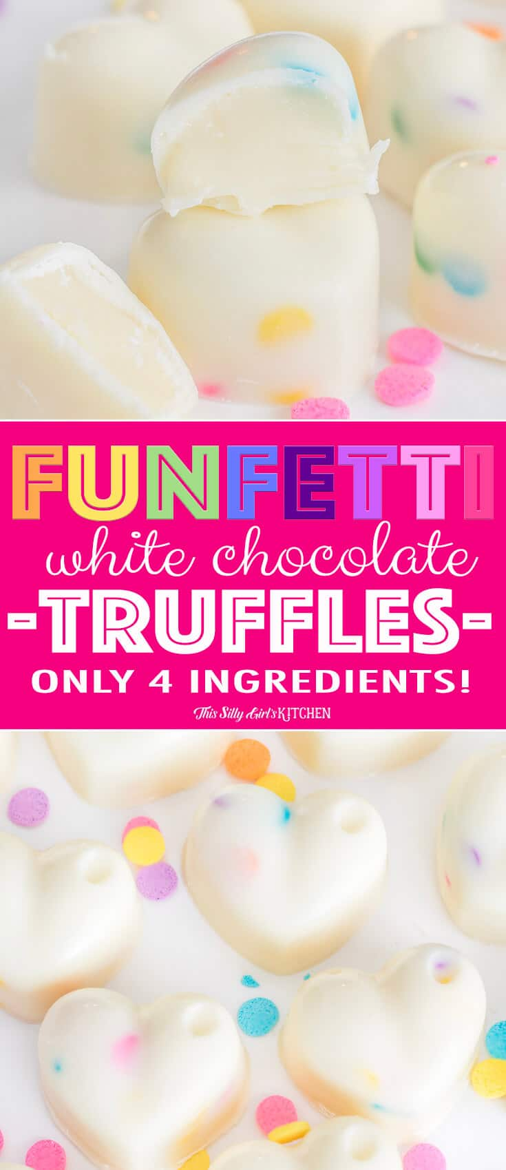 Easy truffles, made with white chocolate #ganache, these are an easy, fun candy you can make at home! #Recipe from ThisSillyGirlsKitchen.com #whitechocolate #truffles #valentinesday #candy