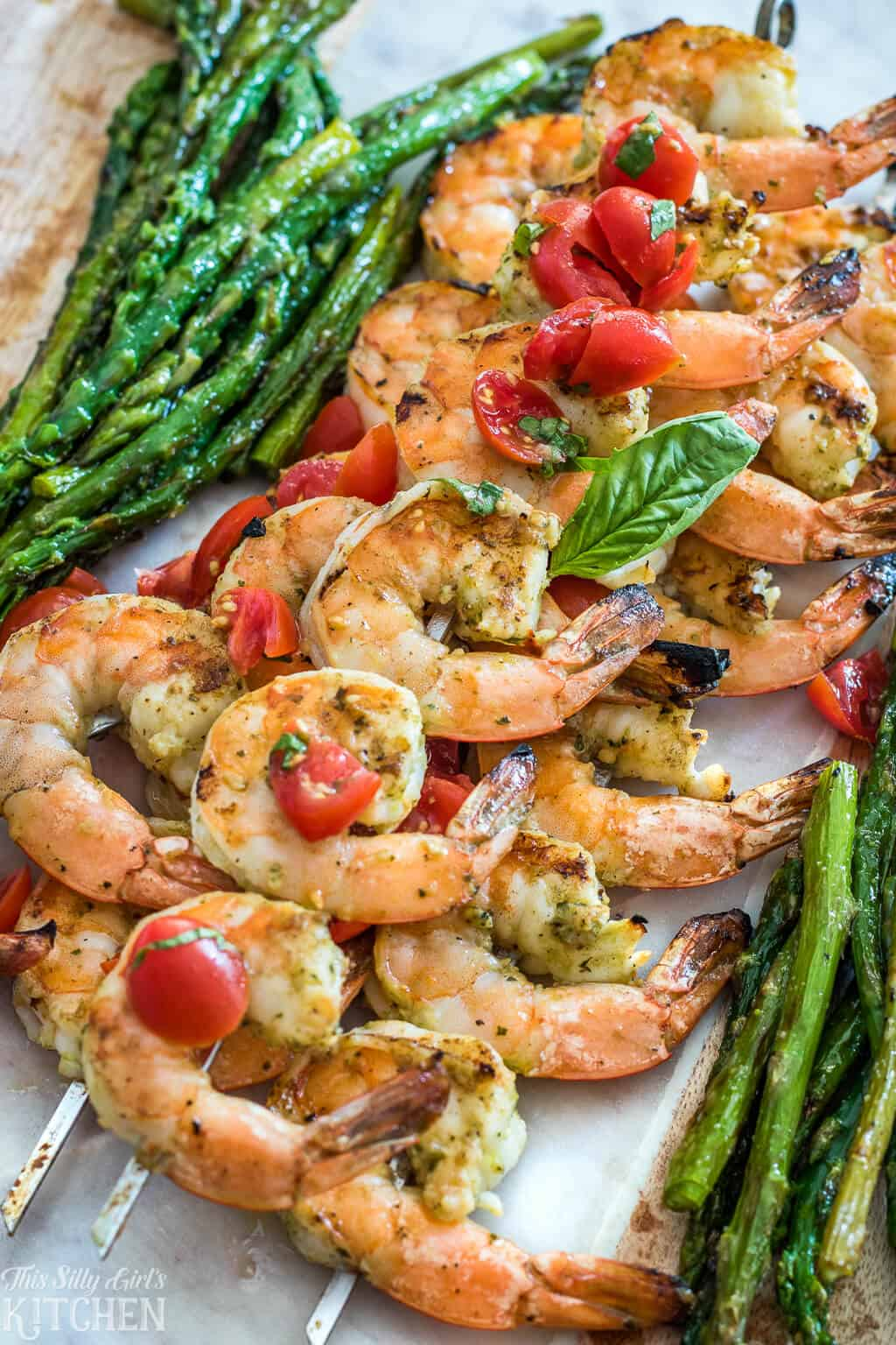 Grilled Shrimp on Skewers topped with Bruschetta