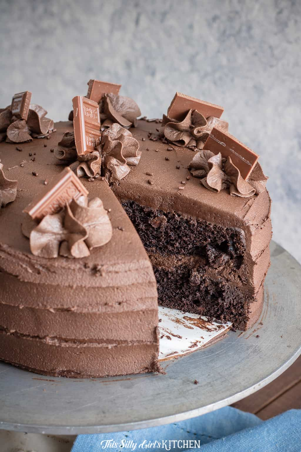 Chocolate Layer Cake with slice taken out