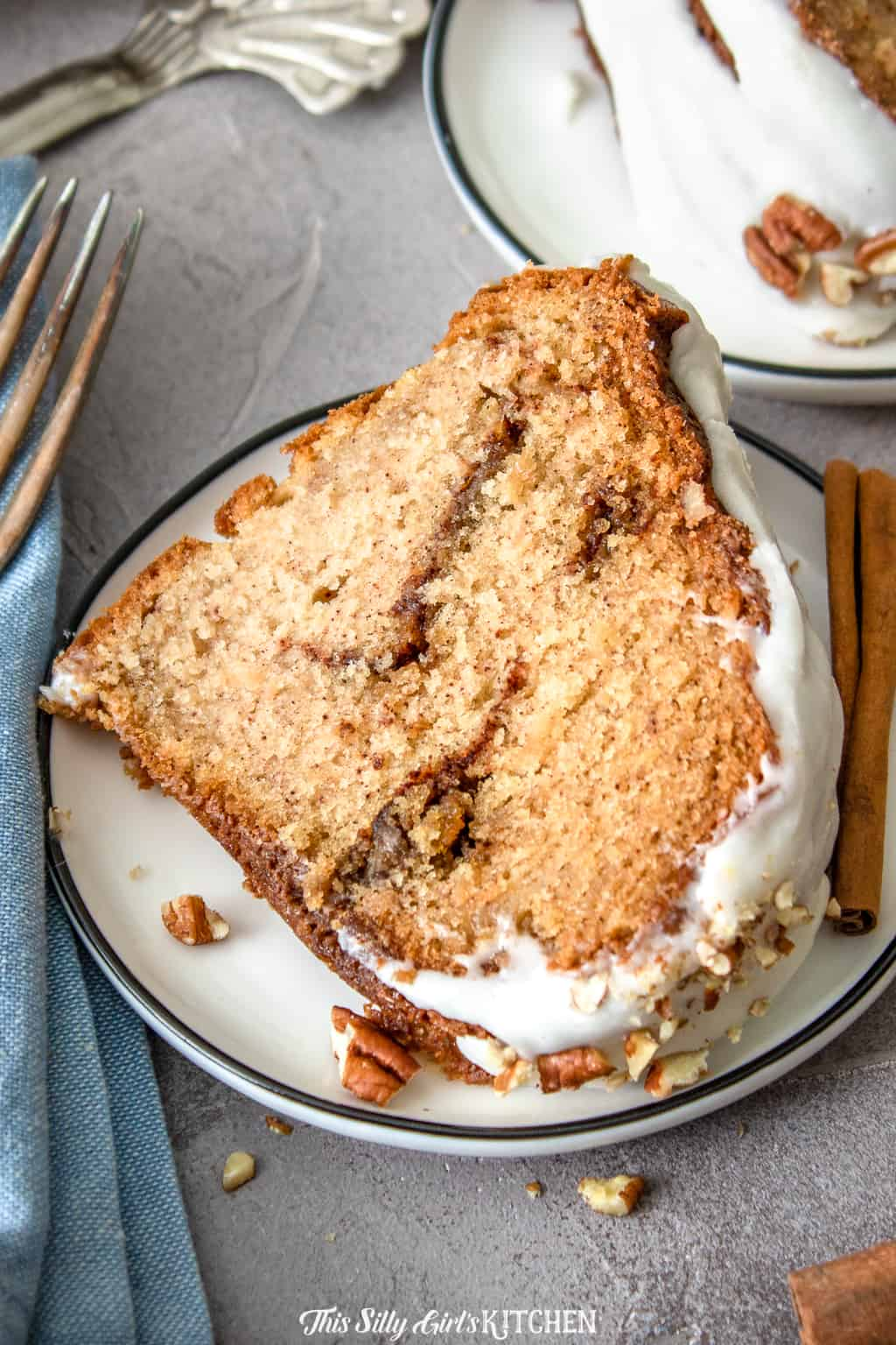 close up slice of cinnamon coffee cake