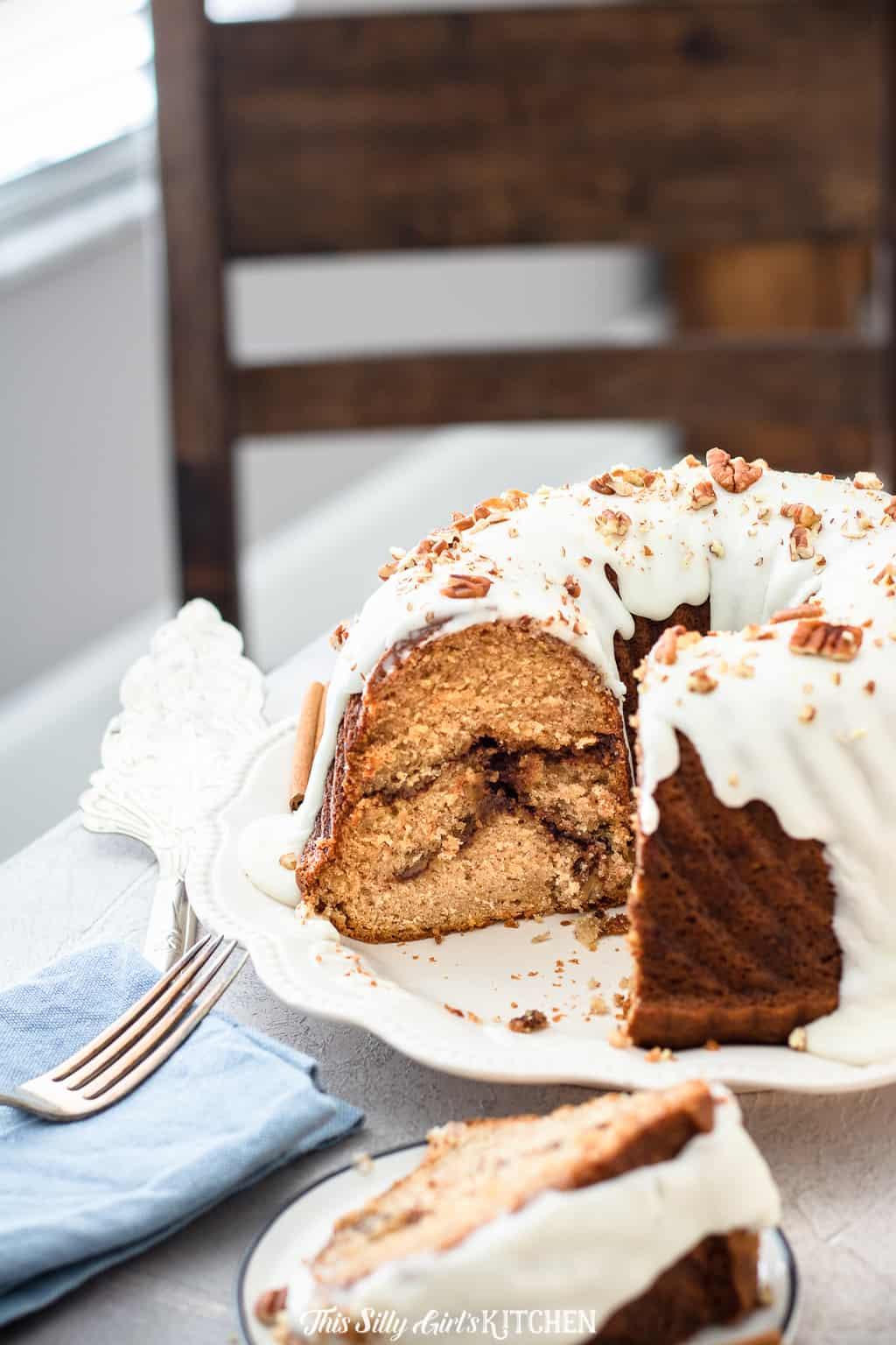 Sliced cinnamon coffee cake