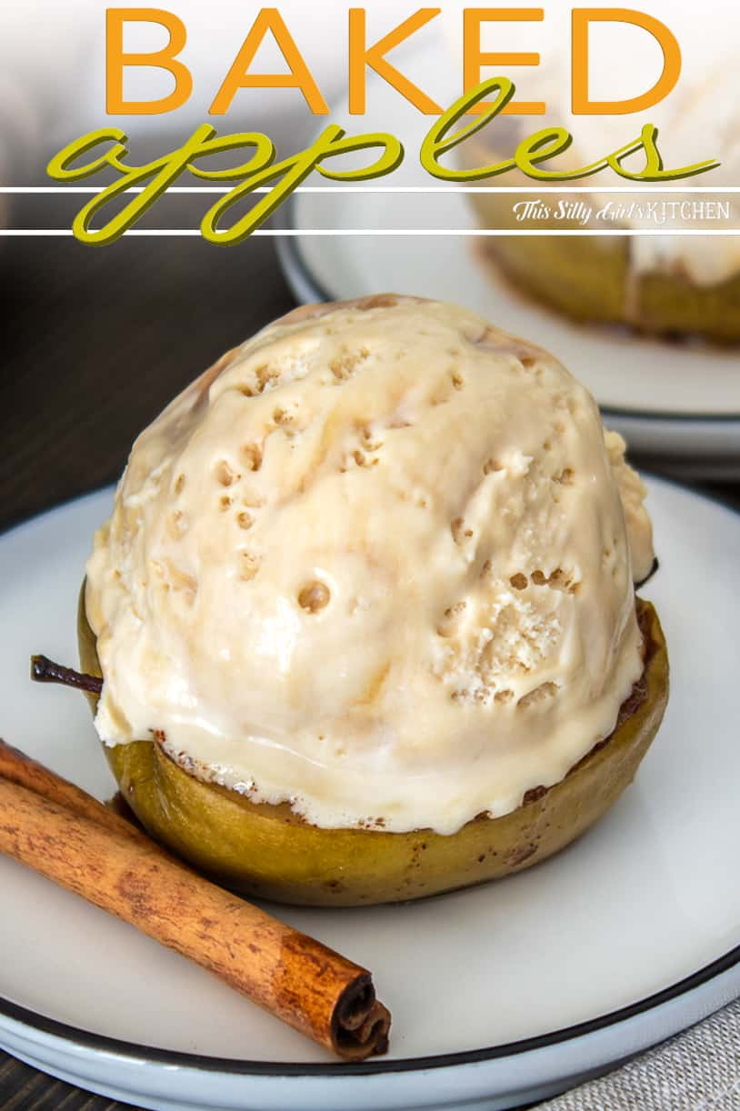 Pinterest image close up of one Baked Apple with ice cream on top.
