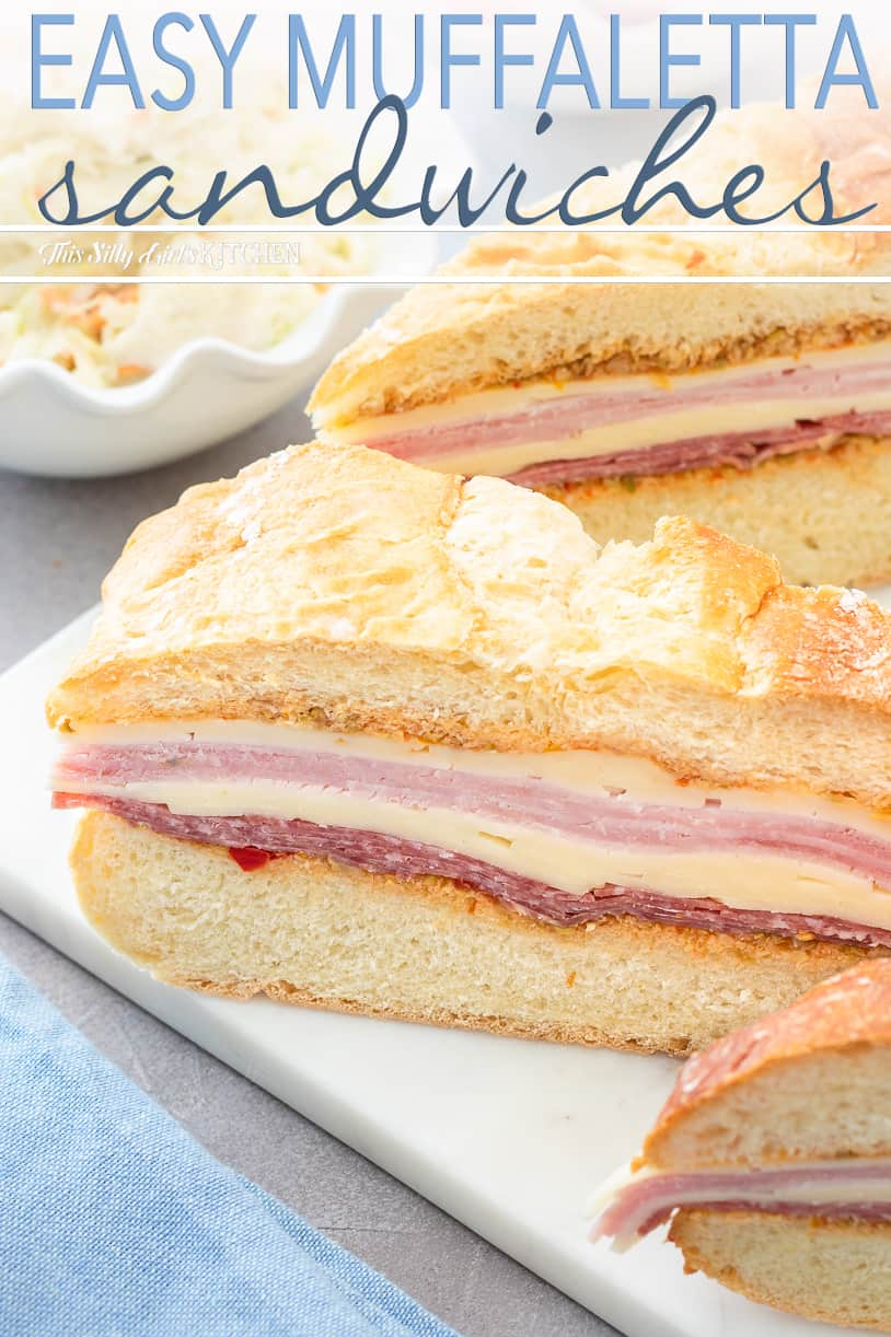 This recipe for the muffaletta is an easy version, perfect for make-ahead lunches! #recipe from ThisSillyGirlsKitchen.com #muffaletta #muffuletta #sandwich #lunch