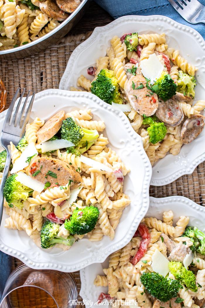 Plated chicken broccoli pasta up close